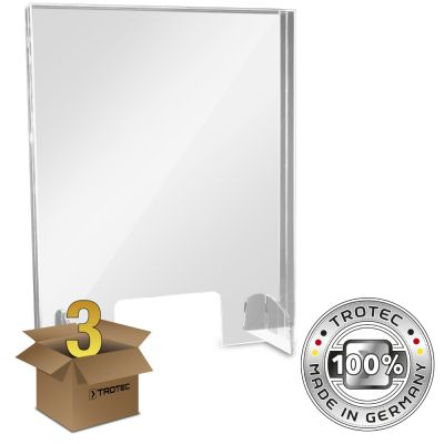 Cristal acrílico de mostrador con borde de protección de aerosol en un paquete de 3 PEQUEÑOS 595 x 250 x 750