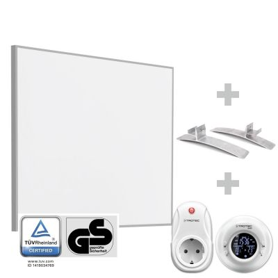 Panel calefactor infrarrojo TIH 300 S + Cronotermostato inalámbrico BN35 + Pies de soporte para la serie TIH-S (2 unidades)