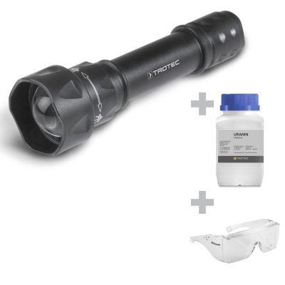Linterna UV de LED Torchlight 15F + Uranina + Gafas de Protección