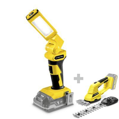 Lámpara de trabajo con batería PWLS 10-20V + Tijeras cortacésped y arbustos a batería  PGSS 10-20V