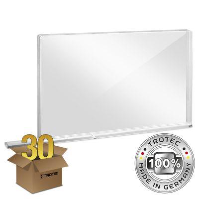 Pared protectora escolar de vidrio acrílico con borde protector de aerosol en un paquete de 30 piezas PEQUEÑO 800 x 69 X 500