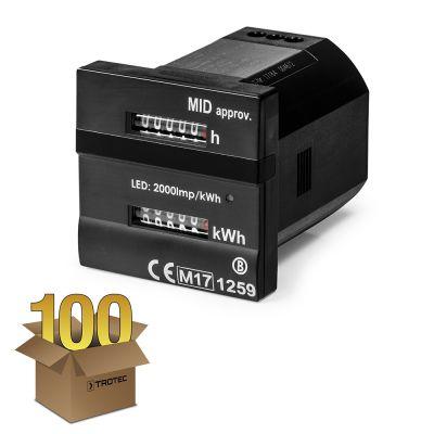 Contador dual - para registro de hora y kilovatios Conforme-MID en paquete de 100 unidades