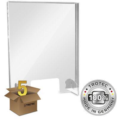 Vidrio acrílico con borde de protección de aerosol en un paquete de 5 piezas PEQUEÑO 595 x 250 x 750