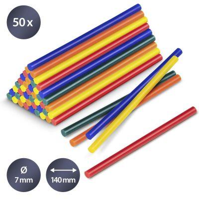 Juego de barras de pegamento termofusible en color, 50 unidades (Ø 7 mm)