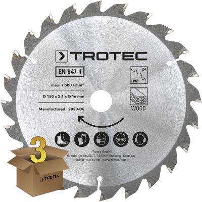 Juego de hojas de sierra circular para  madera Ø 150 mm (24 dientes), 3 piezas