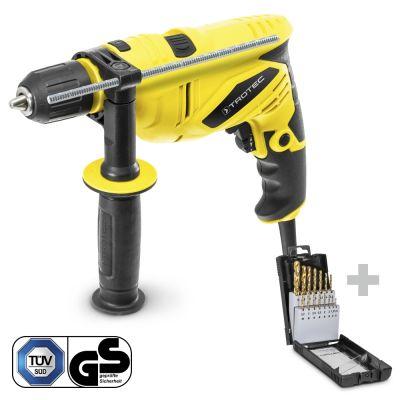 Taladro percutor PHDS 10-230V junto con el juego de broca para metal HSS