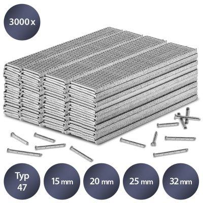 Juego de clavos para grapadora tipo 47, 15, 20, 25 y 32 mm de longitud (3000 unidades)