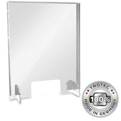 Cristal acrílico de mostrador con borde de protección de aerosol PEQUEÑO 595 x 250 X 750