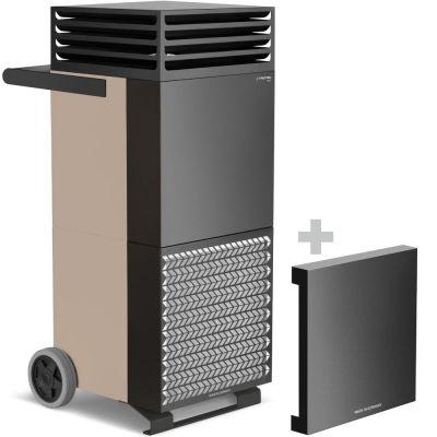 Limpiador de aire de la habitación TAC M en bronce/negro + campana de aislamiento acústico