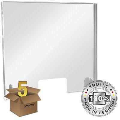 Cristal acrílico de mostrador con borde de protección de aerosol en un paquete de 5 MEDIUM 795 x 250 x 750