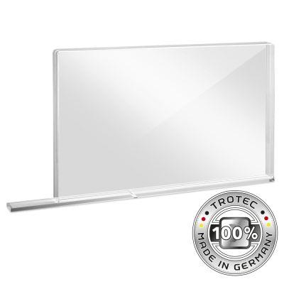 Pared protectora escolar de vidrio acrílico con borde protector de aerosol PEQUEÑO 800 x 69 X 500