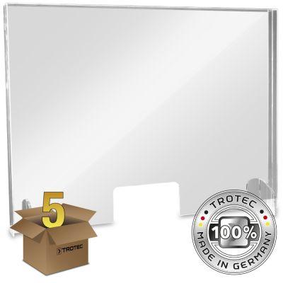 Cristal acrílico de mostrador con borde de protección de aerosol en un paquete de 5 GRANDES 995 x 250 x 750