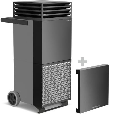 Purificador de aire TAC M en gris basalto/negro + campana de aislamiento acústico