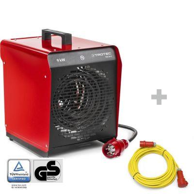 Soplador calefactor eléctrico TDS 50 E + Cable alargador de 20 m / 400 V / 2,5 mm²(CEE 16 A)