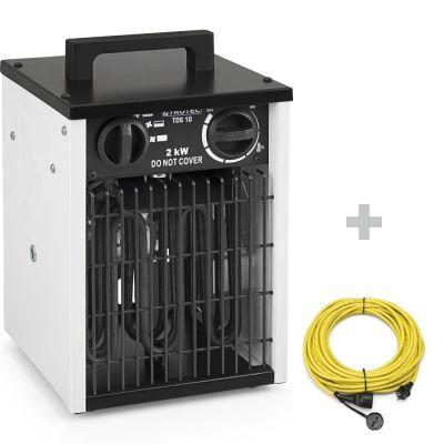 Calefactor eléctrico TDS 10 blanco + cable de extensión profesional  20 m / 230 V / 2,5 mm ²