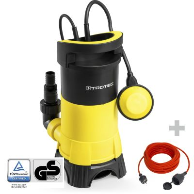 Bomba sumergible para aguas residuales TWP 7025 E + Cable alargado de calidad 15 m / 230 V / 1,5 mm²