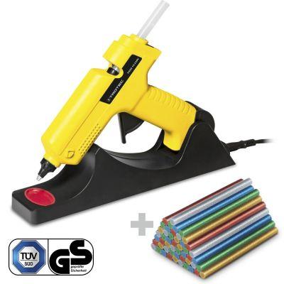 Pistola de pegamento caliente PGGS 10‑230V + Juego barras pegamento termofusible brillante (Ø 11 mm)