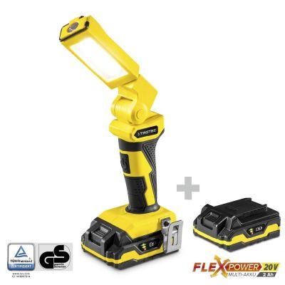 Lámpara de trabajo con batería PWLS 10-20V + Batería de repuesto Flexpower 20V 2.000 Ah