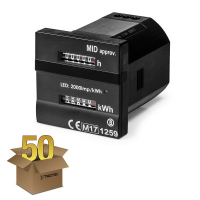 Contador dual - para registro de hora y kilovatios Conforme-MID en paquete de 50 unidades