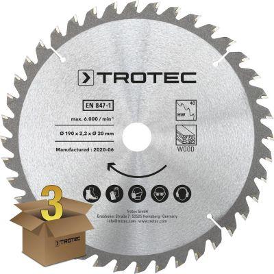 Juego de hojas de sierra circular para  madera Ø 190 mm (40 dientes), 3 piezas