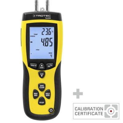 Anemómetro de tubo de Pitot TA400 incl. certificado de calibración