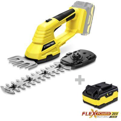 Tijeras cortacésped y arbustos a batería PGSS 10-20V  +  Batería adicional Flexpower 20V 4,0 Ah