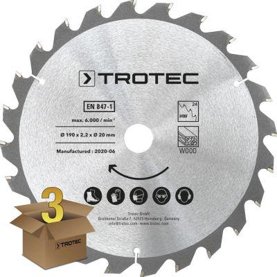 Juego de hojas de sierra circular para  madera Ø 190 mm (24 dientes), 3 piezas
