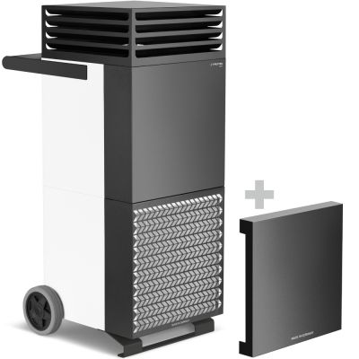 Purificador de aire TAC M en blanco/negro + capucha de aislamiento acústico