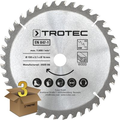 Juego de hojas de sierra circular para  madera Ø 150 mm (40 dientes), 3 piezas