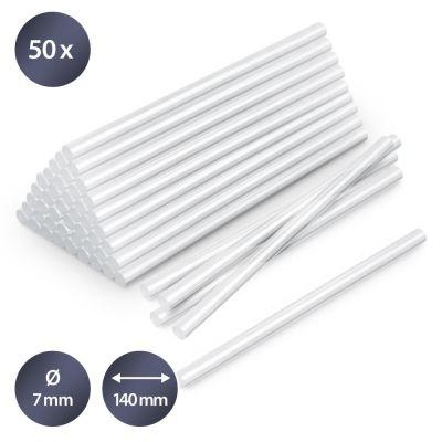 Juego de barras de pegamento termofusible transparente, 50 unidades (Ø 7 mm)