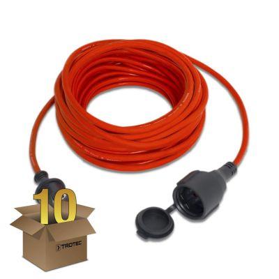 Cable alargado de calidad 15 m / 230 V / 1,5 mm² color rojo en juego de 10 unidades